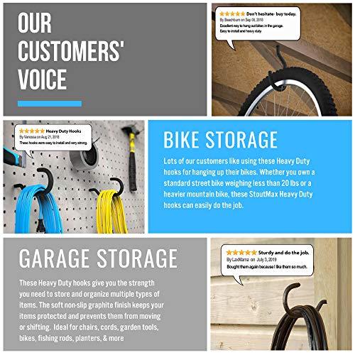 StoutMax Heavy Duty Bike Storage Hooks Set, 8 Pack