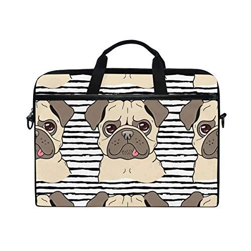 EZIOLY Puppy Dog Pug Laptop Shoulder Messenger Bag Case Sleeve for 13 Inch to 14 inch Laptop