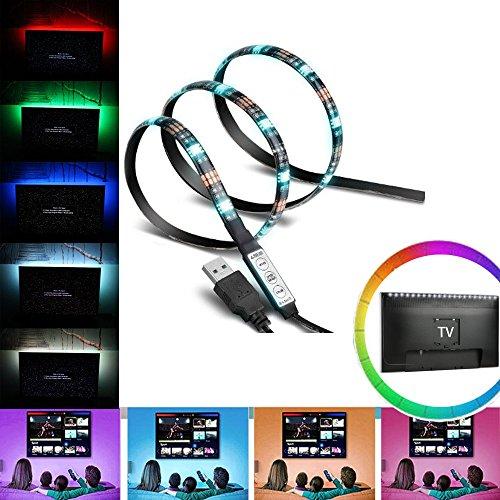 BonvieTech Tira de luz LED 5050 RGB de 5 V alimentada por USB de 90 cm, flexible que cambia de color con cable USB, para iluminación de fondo de TV/PC, iluminación de fondo debajo del gabinete
