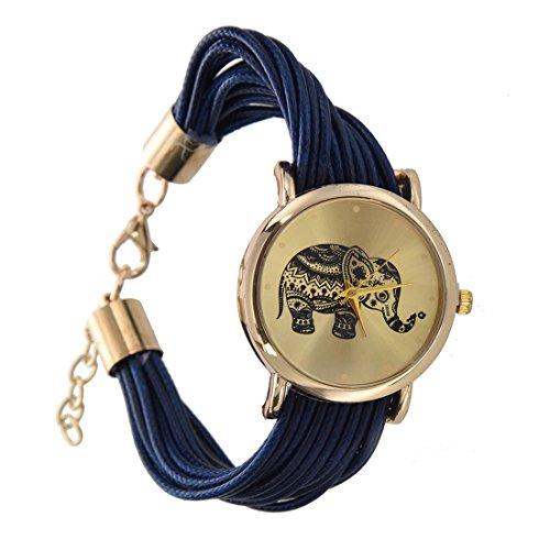 Reloj de pulsera - SODIAL(R)Reloj de pulsera trenzada de esfera de paton de elefante para mujeres azul oscuro