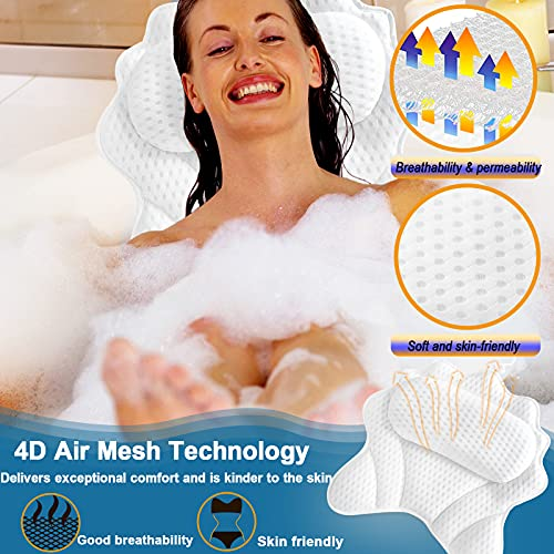 Bath Pillow,Bathtub Pillows for Tub Ergonomic Bathtub Spa Pillow with 4D Air Mesh Technology and 6 Suction Cups Helps Support Head Back Shoulder and Neck Fits All Bathtub Hot Tub Jacuzzi…