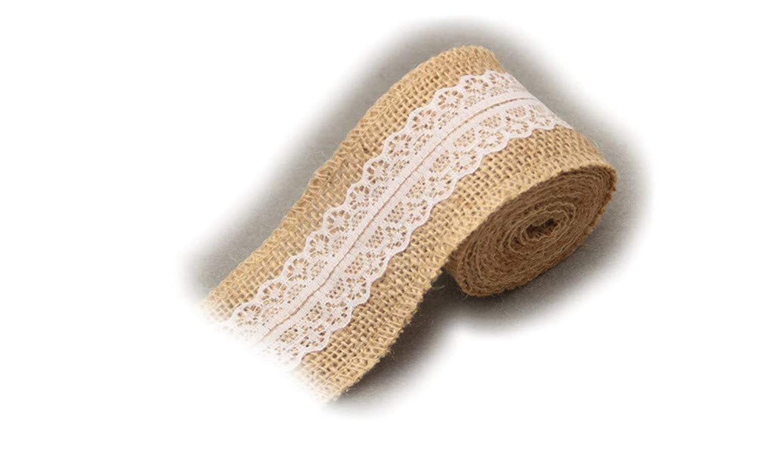LKJHMN 3pack 235 Inches Natural Burlap Craft Ribbon Roll Wreath Fabric with White Lace 6.05m