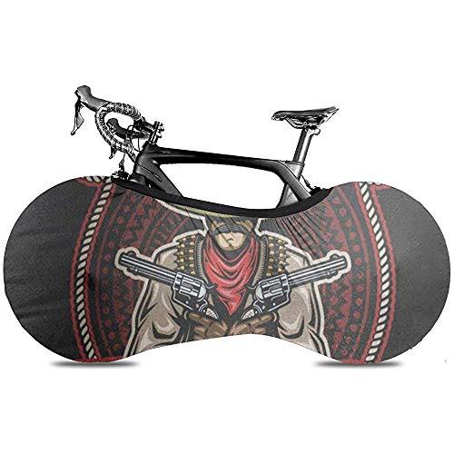 L.BAN Sweet-Heart Cubierta de Rueda de Bicicleta, Protect Gear Tire Cubierta de Bicicleta - México del Bandido Mexicano Pistolas en Manos Sombrero Texto Tequila