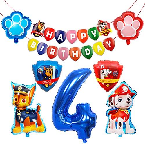 HONGECB Paw Patrol XXL Folienballon, Luftballon Geburtstag Dekoration Set, Paw Patrol Hund Kindergeburtstag Deko, Riesenzahl 4 Ballon Hund Geburtstag Party Deko für Kinder, 8 Stück