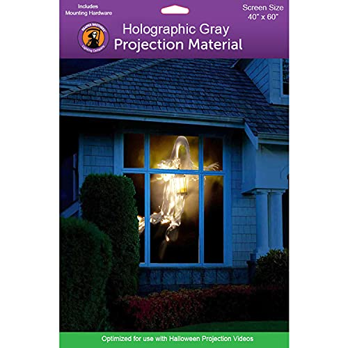 """Holographic Rear Projection Screen with Mounting Hardware for Projecting Halloween Videos (40"""" x 60"""" Gray)"""