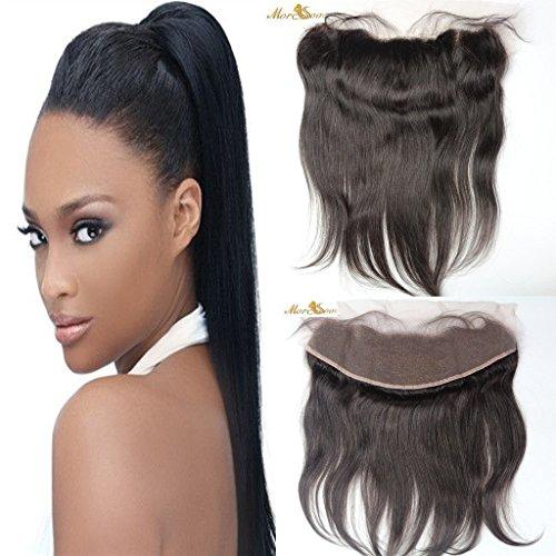 Moresoo 16 pouces 13 * 4 Ear to Ear Top Closure Frontale avec Bebe Cheveux Straight Naturel Noir #1B Tissage Bresilienne Vierge Humains Brésiliens Str