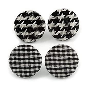 Set of 2 Pairs Black/White Fabric Covered Gingham Checked Button Stud Earrings In Silver Tone - 25mm