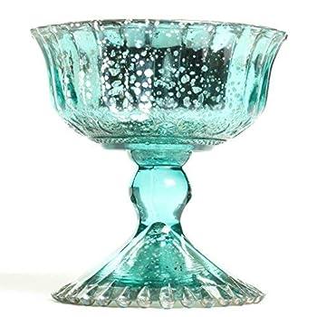 Koyal Wholesale Compote Bowl Centerpiece Mercury Glass Antique Pedestal Vase Floral Centerpiece Wedding Bridal Shower Home Décor  4.5  x 4.5  Aqua Blue