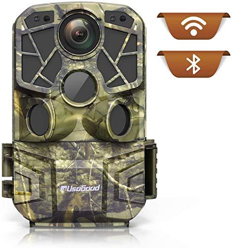 usogood Fototrappola 4K 24MP WiFi Bluetooth con App, Videotrappola LED Invisibili con 940nm IR LEDs, Impermeabile IP66 per la Monitoraggio della Fauna Selvatica All'aperto, Telefonica Invio Foto