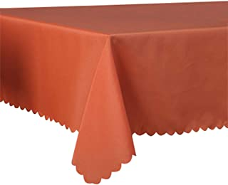 "Queenbox Solid Rectangular Table Cloth - 78"" x 102"" Rectangle Polyester Tablecloth for Wedding Party Hotel Restaurant(Orange)"