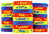 Gypsy Jade's Superheroes Party Favors - Comic Book Action Style Wristbands - Superhero Sayings Bracelets - for Super Hero Themed Parties - Pack of 24!