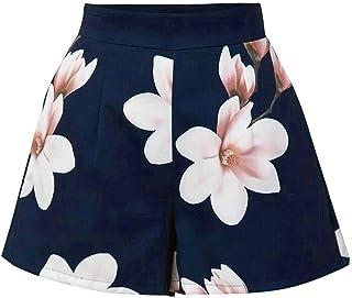 ab0dd335d843 GIRLXV Pantaloncini Stampati Vintage A Vita Alta Pantaloncini Donna  Pantaloncini Corti Donna Pantalone Moda Nuovi Short