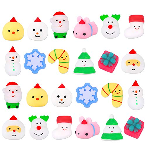 G.C 24Pcs Christmas Squishies Mochi Squishy Toys Kids Party Favors Mini Kawaii Animal Snowflake Squeeze Stress Relief Toys Birthday Gift