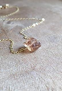 Dainty Raw Imperial Topaz Necklace on 14K Gold Filled 16 Inch - November Birthstone Jewelry
