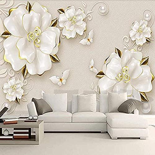 Papel tapiz mural 3D Rosa Beige Beige Joyería Tv Pintura de fondo Pared Pintado Papel tapiz 3D Decoración dormitorio Fotomural sala mural-350cm×256cm