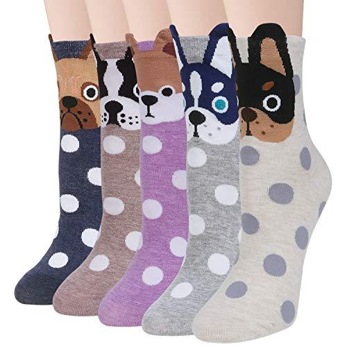 YSense 4 o 5 Pares Calcetines Originales Mujer, Calcetines Algodon Estampados Animales Regalos Para Mujer y Niña (MulticolorA)