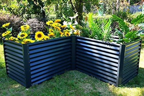 OUTFLEXX Eck-Hochbeet in anthrazit, Zincalume, 210x210x90x84cm, Gemüsebeet Blumenbeet aus Metall für Garten & Balkon