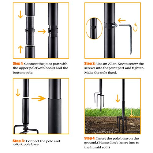 SURNIE String Light Poles for Outdoors (2 x 9 ft) Stainless Steel Connection Pole Patio Lights Halloween LED Hanging Solar Bulbs House Garden Wedding Cafe Party…