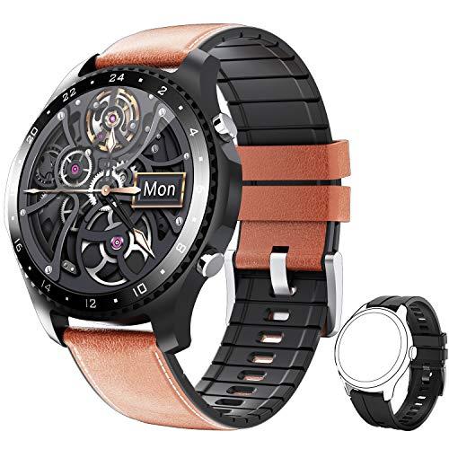 PHIPUDS Smartwatch,Reloj Inteligente con Llamada,Pulsómetro,Cronómetros,Calorías,Monitor de Sueño,música,Podómetro Monitores de Actividad Impermeable IP67 Compatible con Android iOS (Brown)