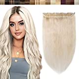 Clip in Haar Extensions Echthaar Haarverlängerungen ein Tresse 5 Clips Haarverdichtung Haarteil 100% Remy Human Hair Platinumblond#60 8'(20cm)-40g