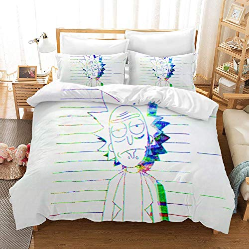 666 Duvet Cover Sets 3D Rick And Morty Printing Child Adult Bedding Set 100% Polyester Gift Duvet Cover 3 Pieces With 2 Pillowcases N-US Twin68*86'(172 * 218cm)