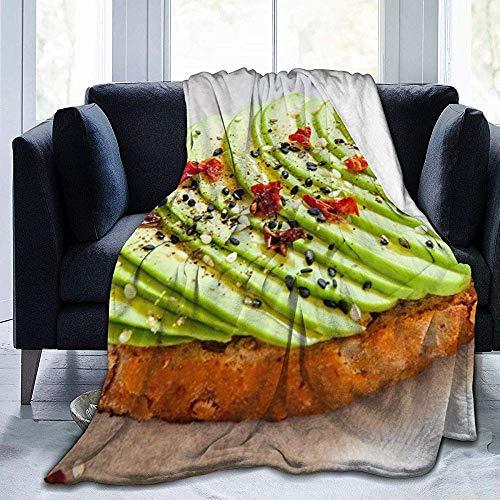 Nat Abra gesneden Avocado op toast brood specerijen eten en drinken deken Character Thuis flanel zacht warm pluche gooien deken voor bed/bank/bank/kantoor