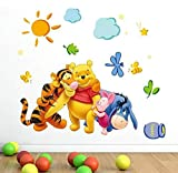 Hpybest Winnie The Pooh Friends Wall Stickers for Kids Rooms Decorative Sticker Removable PVC Wall Decal