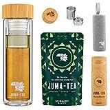JUMA-TEA Guayusa-Starterset: To Go-Flasche mit Teesieb + Stoffhülle + 80g Bio-Guayusatee