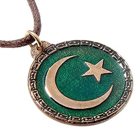 From War to Peace Crescent Moon and Star Green Enamel Pendant Necklace on Adjustable Natural product image