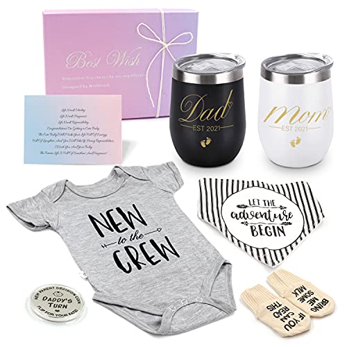 Pregnancy Gift Est 2021 - New Mommy and Daddy Stainless Steel Wine...