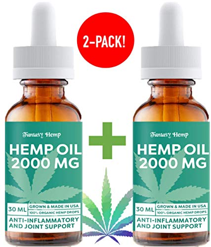 (2 Pack) Hemp Oil 2000mg : Hemp Oil for Pain Stress Relief, Mood Support, Healthy Sleep Patterns, Skin Care (2000mg, 67mg per Serving x 30 Servings) : Fantasy Hemp