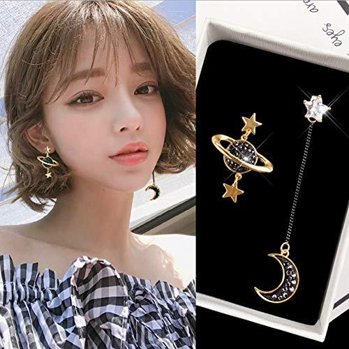 Muzhili3 Damen-Ohrringe, lang, asymmetrisch, Stern, Mond, Planeten, Strass, eingelegtes Geschenk