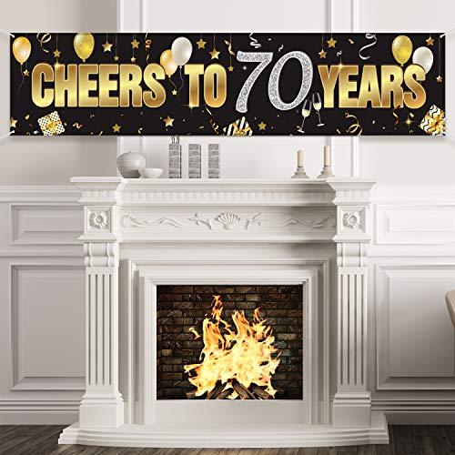 70. Geburtstag Banner, Frohe 70. Geburtstag Prost auf 70 Jahre Geburtstag Zeichen Gold Glitzer Geburtstag Banner, Jubiläum Feier Hintergrund Party Dekoration Lieferungen für 70 Geburtstag