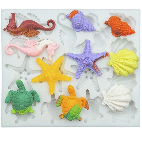 Marine Theme Fondant Silicone Molds, Seashell, Conch, Seahorse, Starfish, Tortoise Silicone Mold for Cake Decoration, Chocolate Candy Sugar Craft