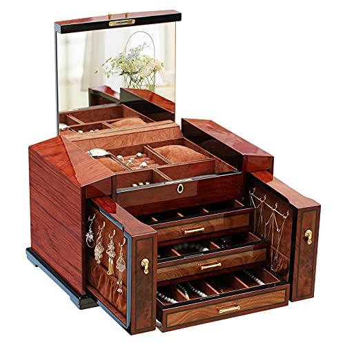 DFQX Organizador de joyería de Madera Grande de Madera Dura con Espejo y Bloqueo - 3 cajones deslizantes - 2 gabinetes Laterales pequeños