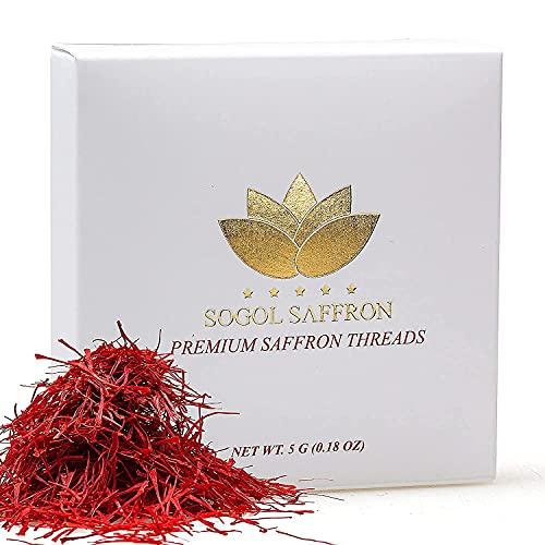 Sogol Saffron Threads Organic (5 Grams) Premium Saffron Spice for Cooking- Aromatic Red Saffron (Super Negin) Perfect for Your Milk, Persian Tea, Persian Rice, Paella Rice, Risotto (0.18 Oz)
