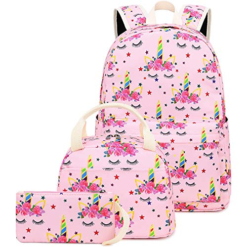 CAMTOP School Backpack for Girls Teens Bookbag Set Cute Student Backpack 3 In 1, School Bags + Lunch Box + Pencil Case (Pink-1)