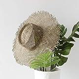 Fxhang Mujeres Sombreros para el Sol Hechos a Mano de Sol Transpirable Sombreros de Paja de Algas Marinas Sombrero de Playa de ala Ancha de Verano Casual Jazz Sombrero de Paja,Ashitaba Green,About 57