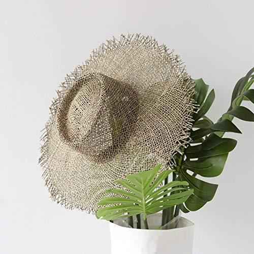 Fxhang Frauen handgemachte Sonnenhüte atmungsaktive natürliche Algen Strohhüte lässig Sommer breiter Krempe Strand Hut Jazz Strohhut,Ashitaba Grün,About 57 cm