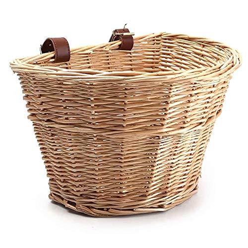 Teekit Fahrradkorb vorne, Weidenkorb, D-förmiger Fahrradkorb für Damen, tragbarer, handgewebter Einkaufskorb, Folk-Kunst mit Lederriemen