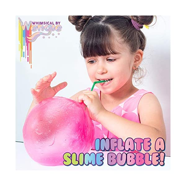 Wengie Whimsical Scented Slime Kit w/ Mystery Unicorn Charm - 4 Pack Glossy Fluffy Puffy Cloud Fruity Slime for Girls… 6