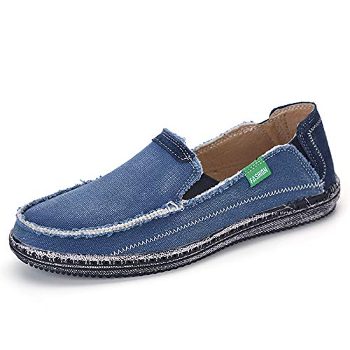JAMONWU Mens Canvas Shoes Slip on Deck Shoes Boat Shoes Non Slip Casual Loafer Flat Outdoor Sneakers (11.5 US,Blue2)
