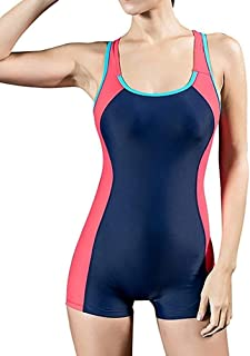 Women's One Piece Swimsuits Boyleg Sports Swimwear Tankini Soft and Comfortable Without Irritation (Color : Blue Red, Size : 18)