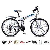 ROYWY Bici Pieghevole, 26 Pollici Mountain Bike, 30 velocità Bicicletta Unisex Adulto, BMX Bici Piega, Doppio Freno a Disco/Blue/A Wheel