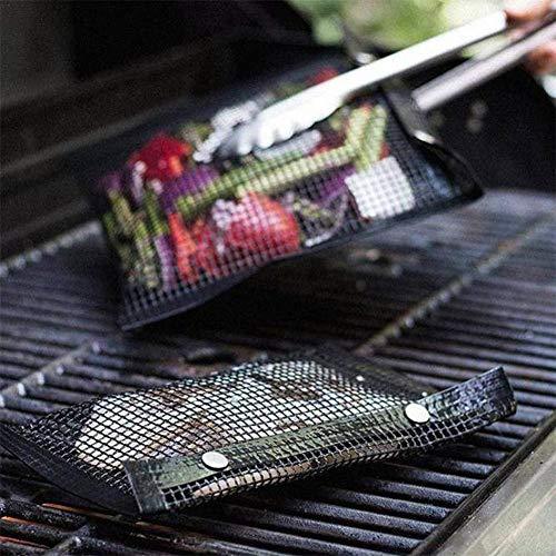 2 Pcs Réutilisable Grillades Maille Sacs Barbecue Sac Cuit Anti-Adhésif Barbecue Sac Haute Résistant À La Température Rollable Cuisson Pan pour Électrique Gaz Charbon De Bois Grill