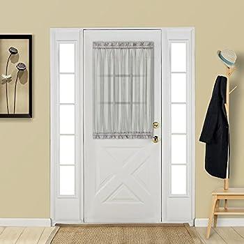 Aquazolax Glass Door Panel Window Curtain Elegant Solid W25 x L40 Rod Pocket Sheer Curtain for French Door with Bonus Tieback - 1 Panel Grey