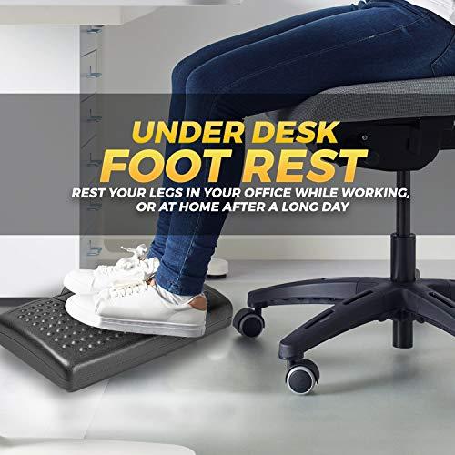 Halter Adjustable Under Desk Home Office Foot Rest with Rollers for Foot Massage, Black