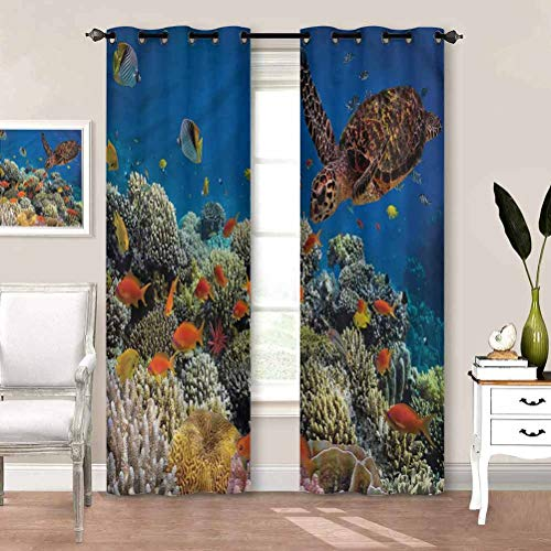 painting-home Blackout Window Curtains Ocean, Fishes Old Turtle Underwater Blackout Patio Door Curtain Panel Perfect for Nursery W84 x L72 Inch