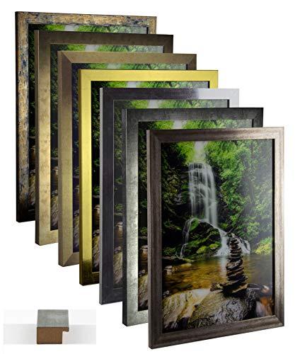 myposterframe Bilderrahmen Vintage Juno 50 x 70 cm Holz MDF Größenwahl 70 x 50 cm Farbwahl Hier: Blau Gold meliert mit Kunstglas klar 1 mm