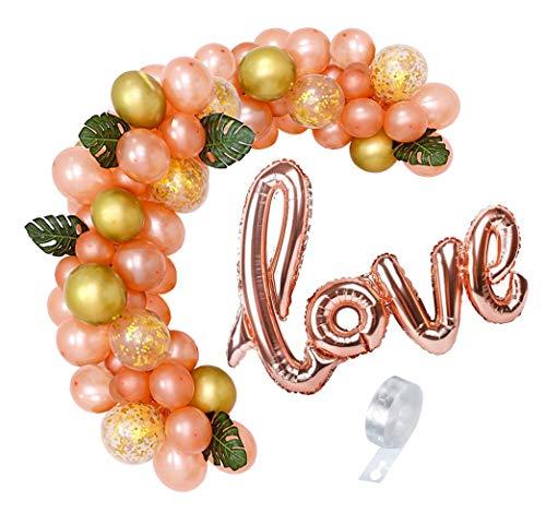MAKFORT Kit de guirnalda de globos de oro rosa para globos de cumpleaños, decoración de baby shower, compromiso, boda, decoración